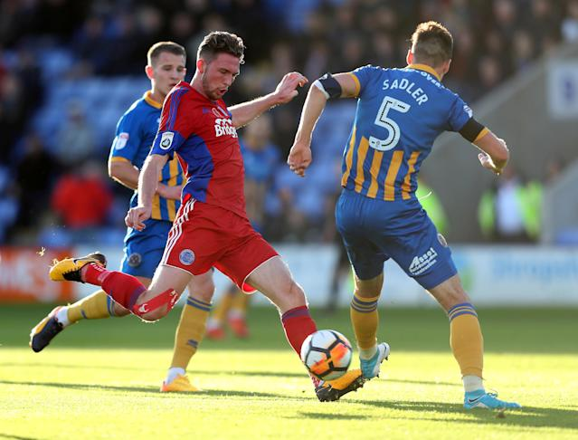 Soccer Football - FA Cup First Round - Shrewsbury Town vs Aldershot Town - New Meadow, Shrewsbury, Britain - November 4, 2017 Aldershot Town's Jim Kellermann in action with Shrewsbury Town's Matthew Sadler Action Images/John Clifton