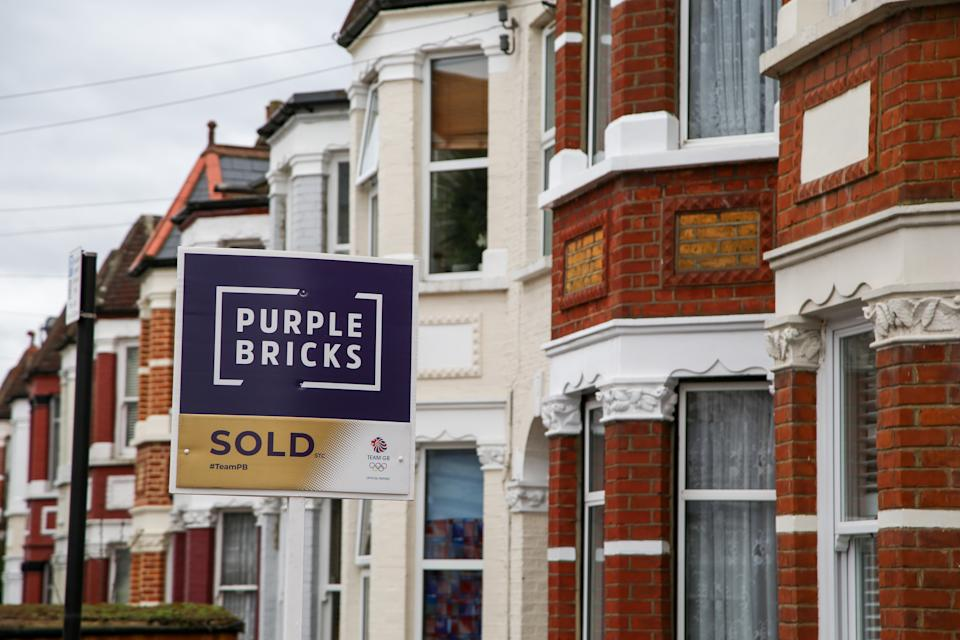 LONDON, UNITED KINGDOM - 2021/03/06: A Sold estate agent board sign by Purple Bricks erected outside a property in London. (Photo by Dinendra Haria/SOPA Images/LightRocket via Getty Images)