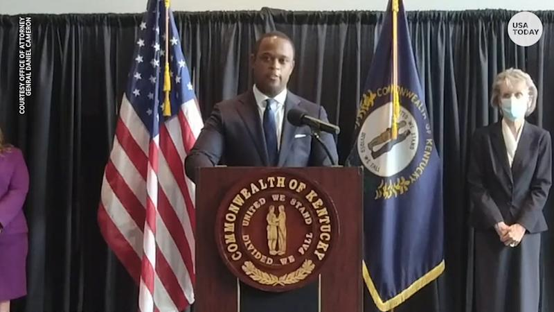 Kentucky Attorney General Daniel Cameron discusses the Breonna Taylor indictment on Sept. 23, 2020.