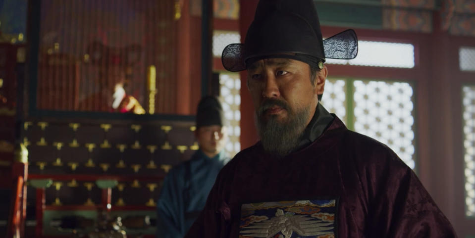 "Chief State Councillor Cho is a power-hungry villain in ""Kingdom""."