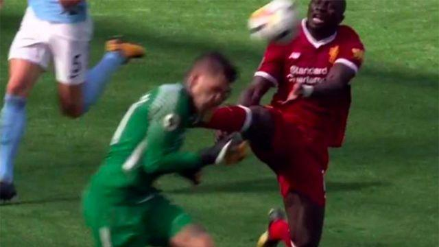 Mane connects with his boot. Pic: Twitter