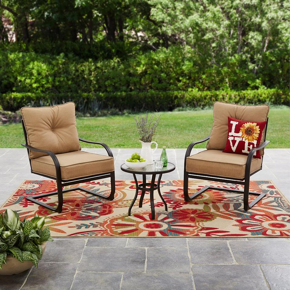 "<p>Comfortable and compact, this <a href=""https://www.popsugar.com/buy/Mainstays-Forest-Hills-Outdoor-Chat-Set-451455?p_name=Mainstays%20Forest%20Hills%20Outdoor%20Chat%20Set&retailer=walmart.com&pid=451455&price=210&evar1=casa%3Aus&evar9=46194910&evar98=https%3A%2F%2Fwww.popsugar.com%2Fhome%2Fphoto-gallery%2F46194910%2Fimage%2F46194922%2FMainstays-Forest-Hills-Outdoor-Chat-Set&list1=shopping%2Cfurniture%2Csmall%20space%20living%2Coutdoor%20decorating%2Cpatios&prop13=api&pdata=1"" class=""link rapid-noclick-resp"" rel=""nofollow noopener"" target=""_blank"" data-ylk=""slk:Mainstays Forest Hills Outdoor Chat Set"">Mainstays Forest Hills Outdoor Chat Set</a> ($210, originally $249) is amazing.</p>"