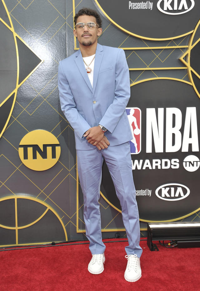 NBA player Trae Young, of the Atlanta Hawks, arrives at the NBA Awards on Monday, June 24, 2019, at the Barker Hangar in Santa Monica, Calif. (Photo by Richard Shotwell/Invision/AP)