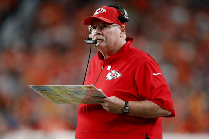 Kansas City Chiefs head coach Andy Reid is still looking for his first Super Bowl win. (AP Photo/David Zalubowski)