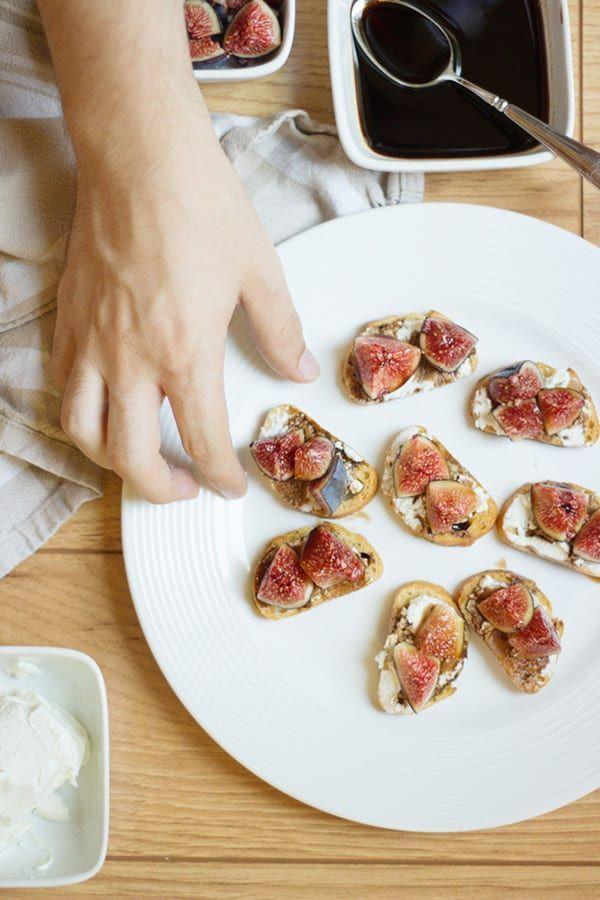 "<p>Fresh figs, balsamic vinegar, goat cheese and olive oil come together on baguette slices to make an instant crowd-pleaser. </p><p><em><a href=""https://lovelyindeed.com/balsamic-fig-and-goat-cheese-crostini/"" rel=""nofollow noopener"" target=""_blank"" data-ylk=""slk:Get the recipe from Lovely Indeed »"" class=""link rapid-noclick-resp"">Get the recipe from Lovely Indeed »</a></em><br></p>"