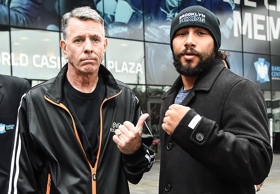 NEW YORK, NY - JANUARY 18:  WBA welterweight champion Keith Thurman (R) along with his trainer Dan Birmingham pose during a press conference to promote the fight against WBC welterweight champion Danny Garcia  at Barclays Center on January 18, 2017 in New York City.  (Photo by Daniel Zuchnik/Getty Images)