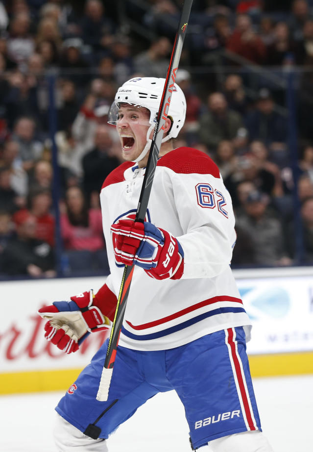 Montreal Canadiens' Artturi Lehkonen, of Finland, celebrates his goal against the Columbus Blue Jackets during the first period of an NHL hockey game Tuesday, Nov. 19, 2019, in Columbus, Ohio. (AP Photo/Jay LaPrete)