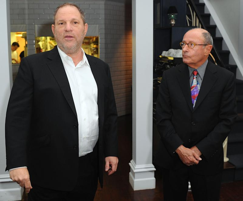 Harvey Weinstein and Peter Bart attend the launch party for Bart's book <i>Infamous Players</i> in New York City on April 25, 2011.