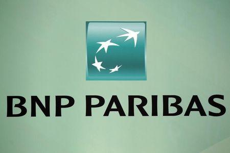 French BNP Paribas bank logo is seen at their presentation of their 2010 annual results in Paris
