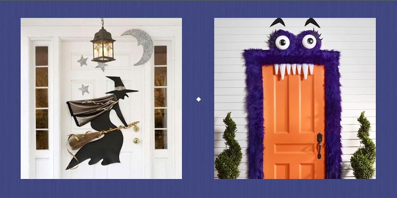 """<p>You don't need wizardry to conjure up <a href=""""https://www.countryliving.com/diy-crafts/how-to/g1024/do-it-yourself-halloween-decorations-1010/"""">DIY Halloween decorations</a>—nor do you have to shell out a ton of money for them either! Here, we've rounded up the very best Halloween door decorations and garage door Halloween decorations that'll keep your front porch looking festive, fun, and just a little bit frightening. But why spend time browsing through these Halloween door decoration ideas, you ask? Well, come <a href=""""https://www.countryliving.com/entertaining/a40250/heres-why-we-really-celebrate-halloween/"""">October 31</a>, you'll have all the trick-or-treaters in town crowding your front porch—and you don't want to disappoint them! Your front door signals to locals that, yes, you <em>do </em>have <a href=""""https://www.countryliving.com/food-drinks/g1194/halloween-treats/"""">a ton of candy</a> and you're willing to share it. What's more, odds are your neighbors will end up doing <a href=""""https://www.countryliving.com/diy-crafts/g1370/outdoor-halloween-decorations/"""">something fun in their own entryways</a>...and you're not one to turn down a little friendly competition, are you? From <a href=""""https://www.countryliving.com/diy-crafts/g1189/best-halloween-crafts-ever/"""">insanely cute creations</a> (furry monsters for the win) to downright creepy designs (a few paper bats is all it takes!), there's something here for every style and mood. In fact, once you go to town on your doors, you might just feel inspired enough to throw an all-out Halloween bash! (Not to worry, y'all: We've <a href=""""https://www.countryliving.com/entertaining/g271/halloween-decorating-1005/"""" target=""""_blank"""">got you covered in that department too</a>.)<br></p>"""