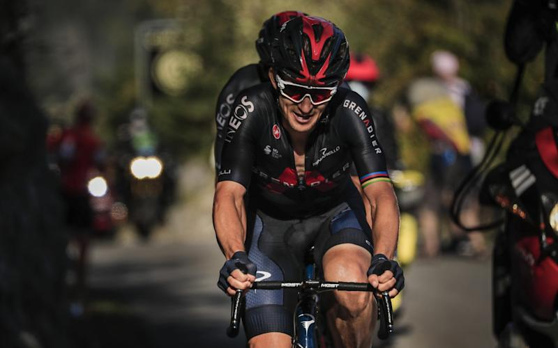 Polish rider Michal Kwiatkowski of Ineos Grenadiers team in action during the 18th stage of the Tour de France cycling race over 175km from Meribel to La-Roche-sur-Foron, France - SHUTTERSTOCK