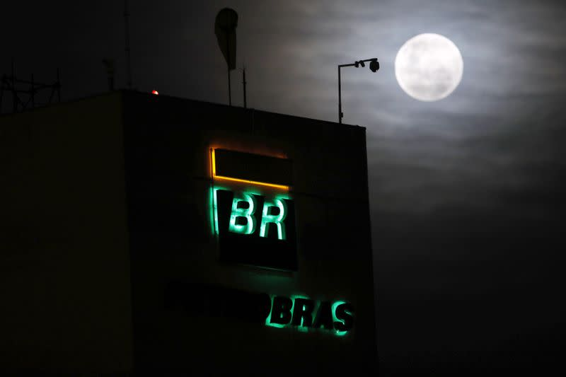 The logo of Petrobras, state-controlled Petroleo Brasileiro SA, is seen at their President Bernardes Refinery in Cubatao