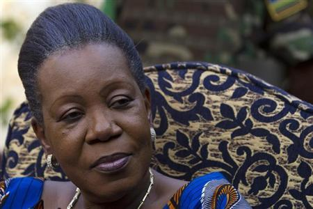 Central African Republic's interim president Samba-Panza speaks to the media at her residence in Bangui
