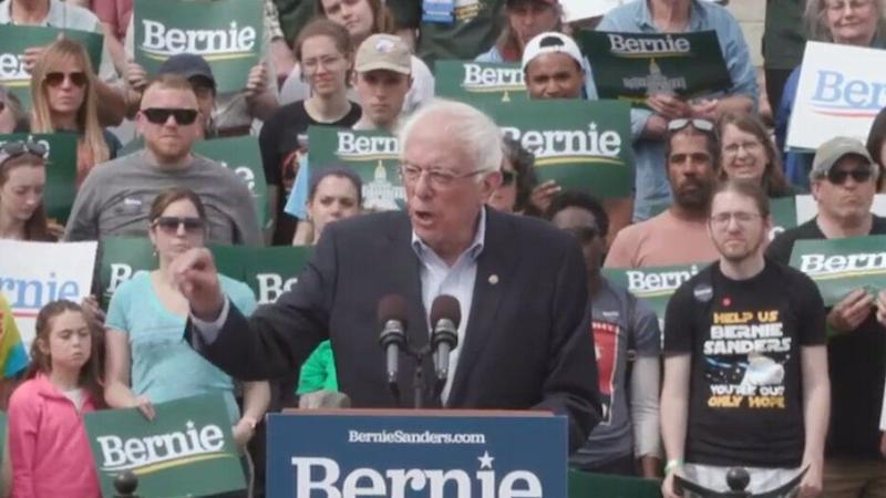 Bernie Sanders speaks at a rally in Montpelier, Vt., on Saturday. (C-SPAN via YouTube)