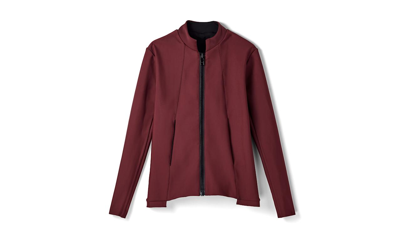 """<p>This jacket is made from a polyamide blend of recycled materials such as plastic bottles.<br /><br />Over & Out Bomber, $175, <a rel=""""nofollow"""" href=""""https://www.thisisaday.com/#!/products/over-and-out-bomber"""">thisisaday.com</a> </p>"""