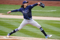 Tampa Bay Rays' Tyler Glasnow (20) delivers a pitch during the first inning of a baseball game against the New York Yankees Saturday, April 17, 2021, in New York.(AP Photo/Frank Franklin II)