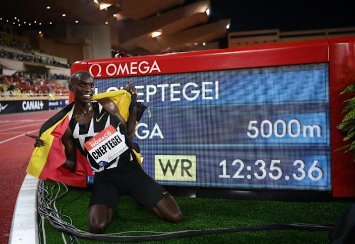 Cheptegei with his world record time