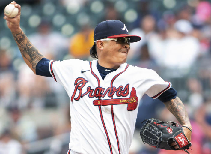 Atlanta Braves relief pitcher Jesse Chavez throws during the fourth inning of the second baseball game of a baseball doubleheader against the San Diego Padres on Wednesday, July 21, 2021, in Atlanta. (AP Photo/Hakim Wright Sr.)
