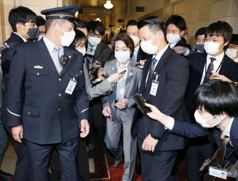 Japan's Olympic and Paralympic Games Minister Seiko Hashimoto is surrounded by media in Tokyo