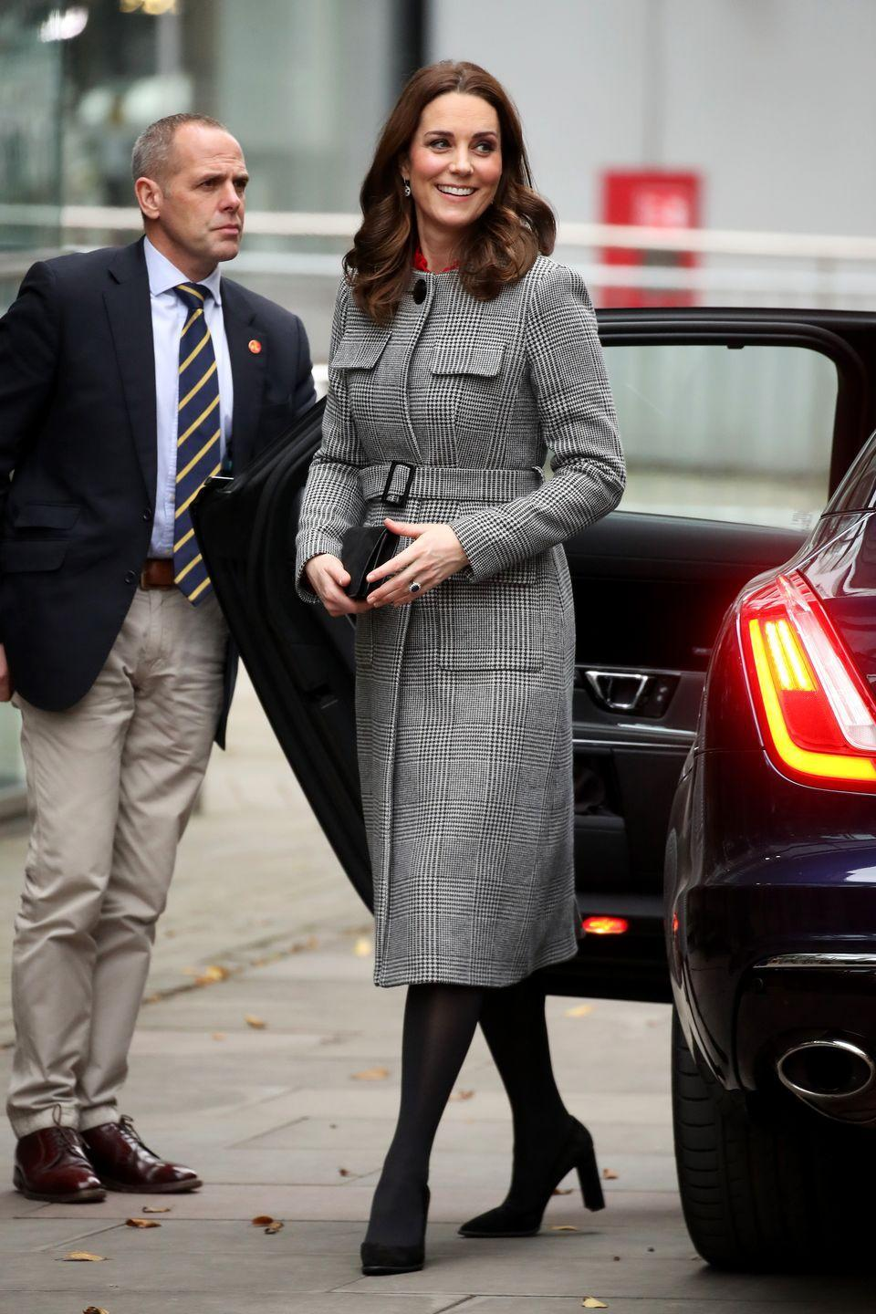 """<p>Kate has even worn plaid as maternity clothes: in December 2017, <a href=""""https://www.townandcountrymag.com/society/tradition/g12167293/kate-middleton-best-maternity-outfits/?slide=26"""" rel=""""nofollow noopener"""" target=""""_blank"""" data-ylk=""""slk:the Duchess stepped out"""" class=""""link rapid-noclick-resp"""">the Duchess stepped out</a> in this gray checkered coat by L.K. Bennet. She was pregnant with Prince Louis at the time. </p>"""