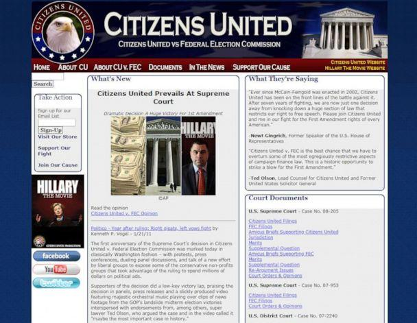 PHOTO: The Citizens United website homepage is pictured in a screen grab made on Jan. 10, 2020. (cuvfec.com)