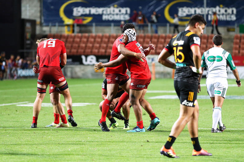 The Sunwolves celebrate their victory in the Super Rugby match between the Sunwolves and the Chiefs in Hamilton, New Zealand, Saturday, March 2, 2019. (AP Photo/Bruce Lim)