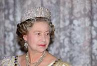 """<p>For a state banquet in Iceland on June 25, 1990, the Queen donned the Russian Fringe Tiara, which she wore to her 1947 <a href=""""http://www.townandcountrymag.com/leisure/arts-and-culture/a8451/queen-elizabeth-prince-philip-wedding/"""" rel=""""nofollow noopener"""" target=""""_blank"""" data-ylk=""""slk:wedding to Prince Philip"""" class=""""link rapid-noclick-resp"""">wedding to Prince Philip</a>. </p>"""