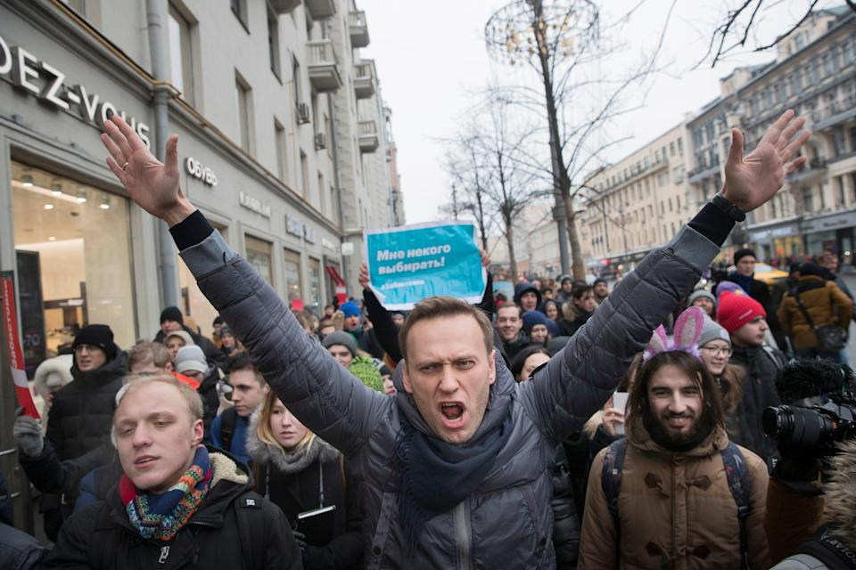 Russian opposition leader Alexei Navalny is President Vladimir Putin's most visible opponent. He has been barred from running for office and has been arrested multiple times for leading unsanctioned rallies.