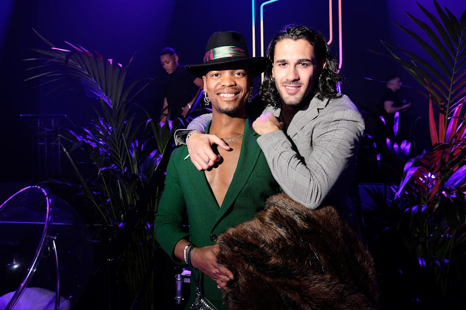 LONDON, ENGLAND - NOVEMBER 21: Johannes Radebe and Graziano di Prima attend the GAY TIMES Honours 500 at Magazine London on November 21, 2019 in London, England. (Photo by Mike Marsland/WireImage for GAY TIMES)