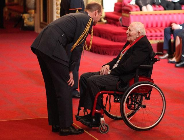 Sir Roger Bannister was made a Companion of Honour by the Duke of Cambridge in 2017