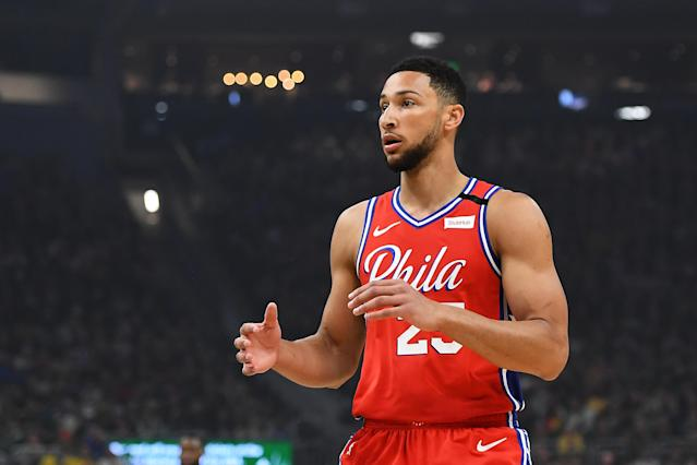 "<a class=""link rapid-noclick-resp"" href=""/nba/teams/philadelphia/"" data-ylk=""slk:Sixers"">Sixers</a> star <a class=""link rapid-noclick-resp"" href=""/nba/players/5600/"" data-ylk=""slk:Ben Simmons"">Ben Simmons</a> will miss more time with a lower back injury. (Stacy Revere/Getty Images)"