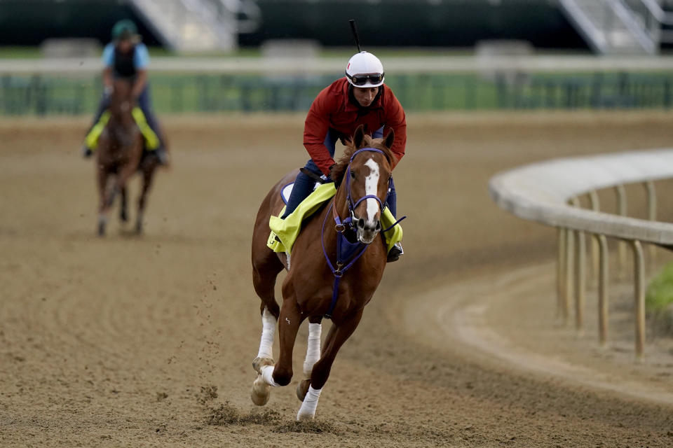 Kentucky Derby entrant King Fury works out at Churchill Downs Wednesday, April 28, 2021, in Louisville, Ky. The 147th running of the Kentucky Derby is scheduled for Saturday, May 1. (AP Photo/Charlie Riedel)