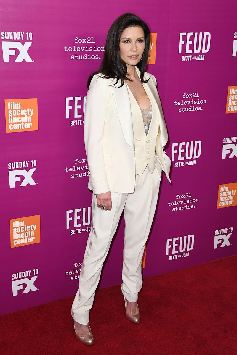 Catherine Zeta-Jones wore a show-stopping cream Tom Ford tuxedo to the Feud finale.