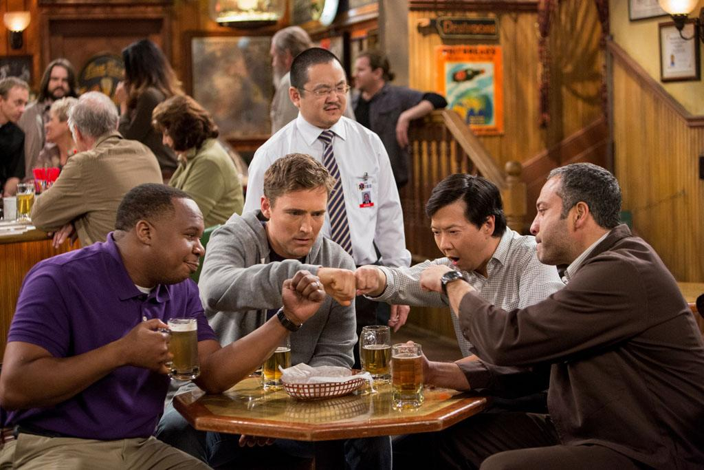 "Roy Wood, Jr., Owen Benjamin, Ken Jeong, and Ahmed Ahmed in the ""Sullivan & Son"" Season 2 Premiere, ""The Pilot, One More Time."""