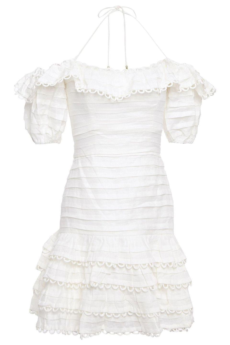 """<p><strong>ZIMMERMANN</strong></p><p>theoutnet.com</p><p><strong>$425.00</strong></p><p><a href=""""https://go.redirectingat.com?id=74968X1596630&url=https%3A%2F%2Fwww.theoutnet.com%2Fen-us%2Fshop%2Fproduct%2Fzimmermann%2Fdresses%2Fmini-dress%2Fallia-pintuck-off-the-shoulder-ruffled-linen-mini-dress%2F2499567818787547&sref=https%3A%2F%2Fwww.harpersbazaar.com%2Ffashion%2Ftrends%2Fg34788766%2Fthe-outnets-black-friday-sale-2020%2F"""" rel=""""nofollow noopener"""" target=""""_blank"""" data-ylk=""""slk:Shop Now"""" class=""""link rapid-noclick-resp"""">Shop Now</a></p><p>This sweet LWD deserves to hang in your wardrobe. </p>"""