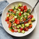 <p>It doesn't get easier than a cucumber and tomato summer salad! Fresh cucumber and juicy ripe tomatoes are all you need to really make this salad shine. Marinating cucumbers and tomatoes in vinegar with a touch of lemon zest infuses the dish with tangy citrus flavor.</p>