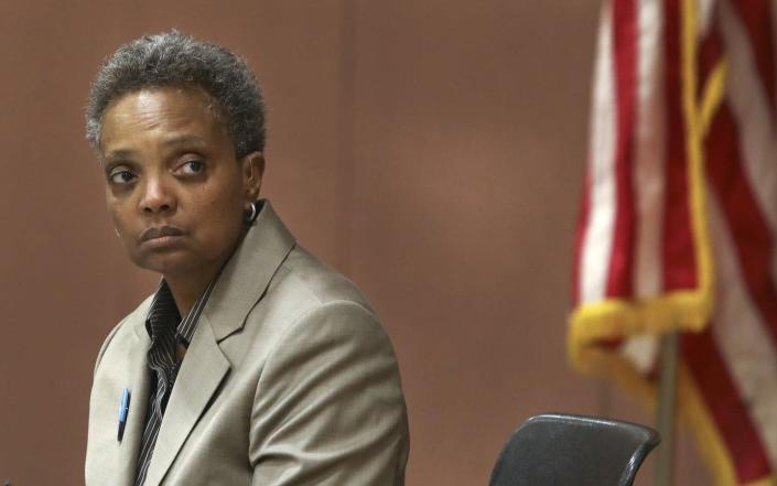 """<span class=""""caption"""">Chicago Mayor Lori Lightfoot's administration said it would reject all freedom of information requests -- and then reversed itself after public outcry.</span> <span class=""""attribution""""><a class=""""link rapid-noclick-resp"""" href=""""http://www.apimages.com/metadata/Index/Chicago-Mayor/4e8fd5d2ab4642c4848fb26a9e38a439/23/0"""" rel=""""nofollow noopener"""" target=""""_blank"""" data-ylk=""""slk:AP/Teresa Crawford"""">AP/Teresa Crawford</a></span>"""