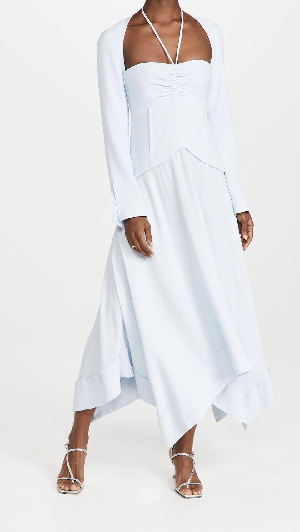 <p>This <span>Jonathan Simkhai Haven Halter Midi Dress</span> ($595) is unexpected and cool. We love the halter with the shoulders, and the light blue is so pretty.</p>