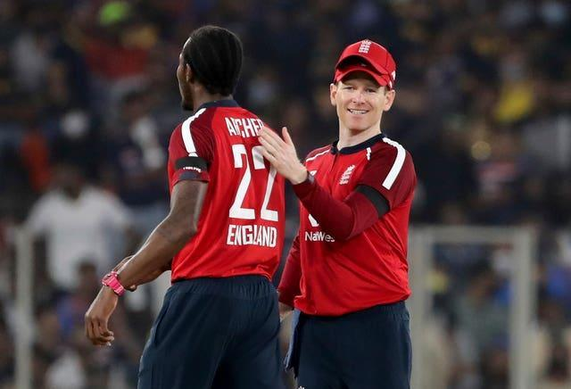 Eoin Morgan (right) says Jofra Archer (left) could be forced to withdraw from the IPL.