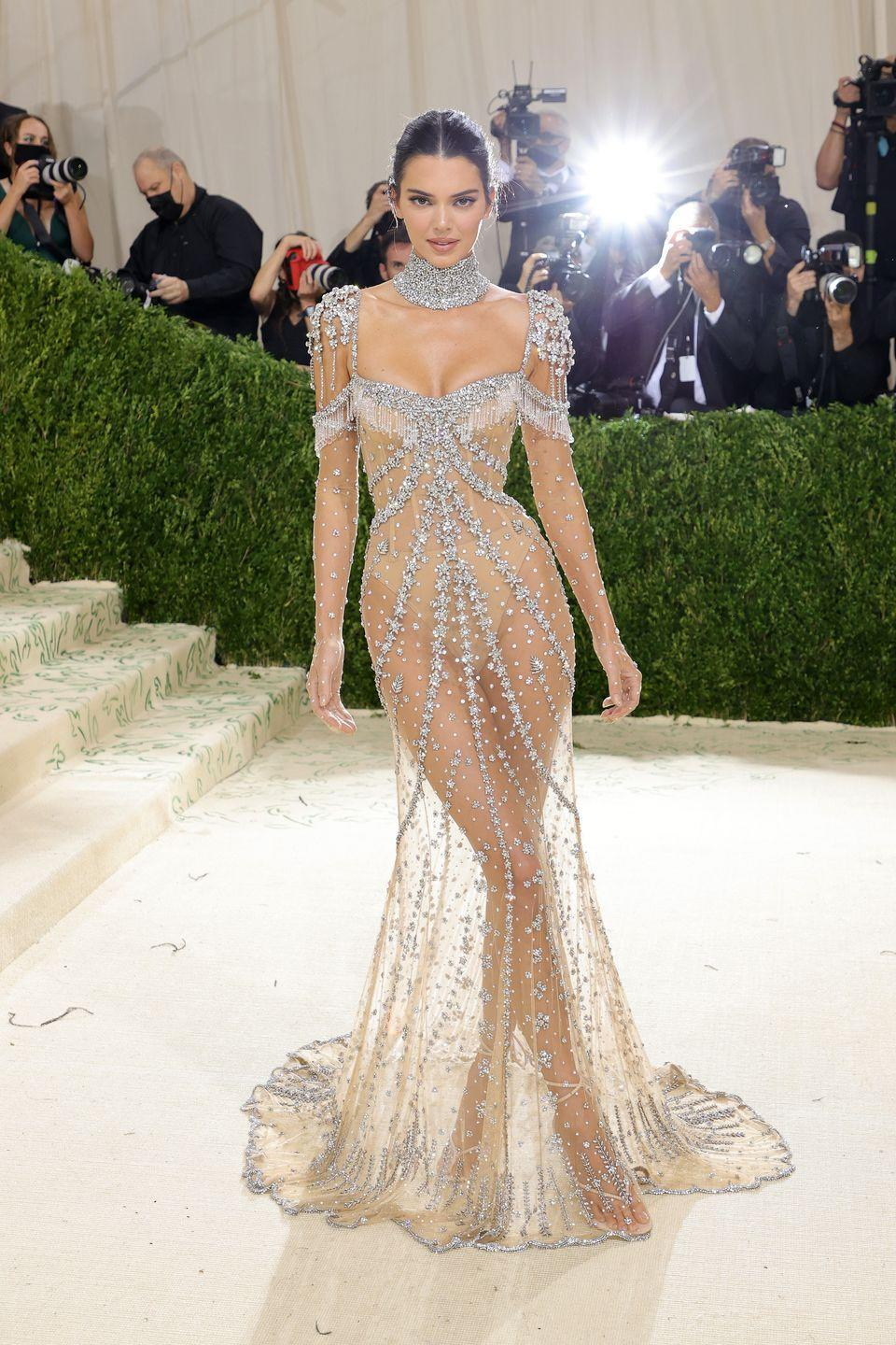 <p>The model and reality star looked amazing in a sheer, beaded gown that resembled something Cher might have worn in the '80s. Our only quibble with the otherwise gorgeous look is that her bodysuit isn't a particularly good match to her skin and it's a little too obvious in pictures. </p>