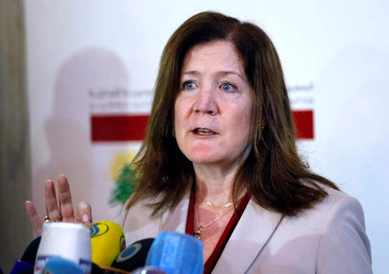 Image: U.S. Ambassador to Lebanon Shea speaks during a news conference after meeting with Lebanon's Foreign Minister Hitti in Beirut (Mohamed Azakir / Reuters)
