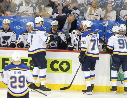St. Louis head coach Craig Berube, centre, has taken the Blues from the worst team in the league to the Stanley Cup finals in just four months