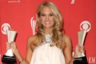 <p>Underwood is the female with the most entertainer of the year wins under her belt, at three. Her first was in 2009, when she bested Brad Paisley, George Strait, Keith Urban and Kenny Chesney, and earned the Triple Crown.</p>
