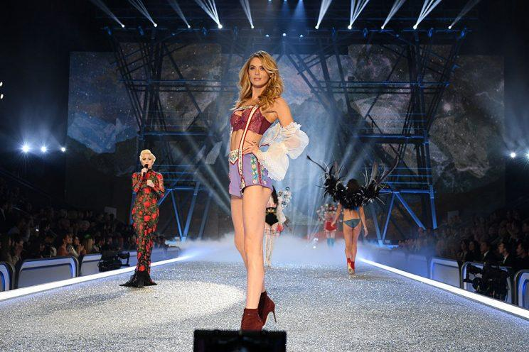 Megan Williams takes to the Victoria's Secret catwalk [Photo: Getty]