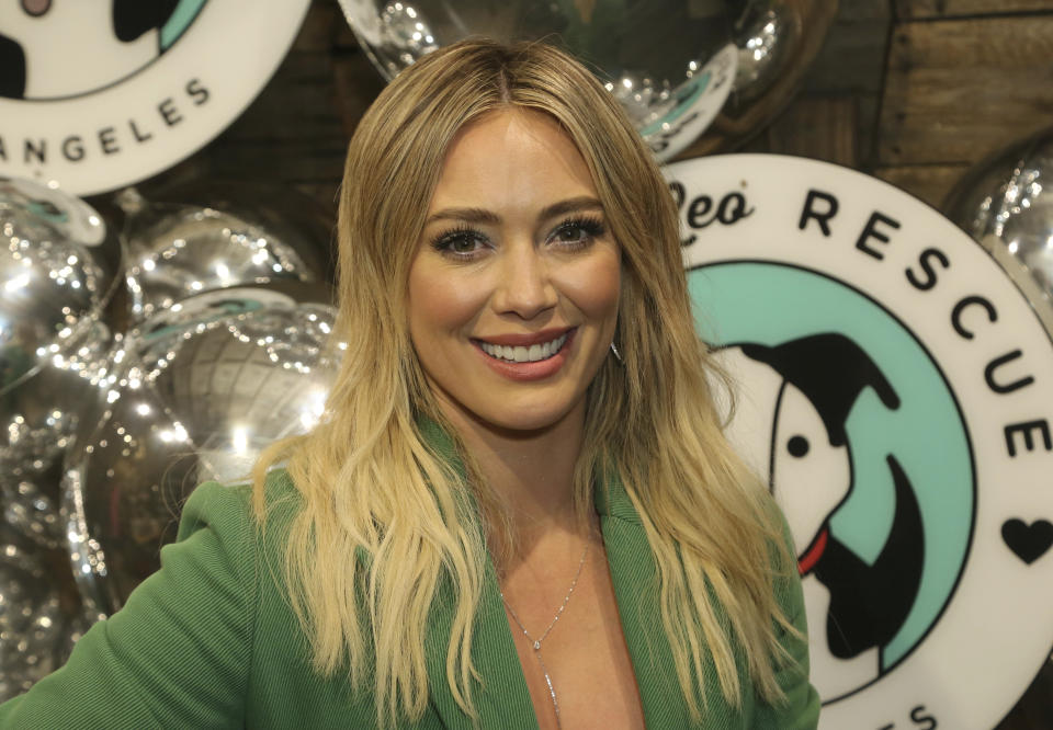 "Hilary Duff attends the ""Love Leo Rescue 2nd Annual Cocktails for A Cause"" at the Rolling Greens Los Angeles on Wednesday, Nov. 6, 2019, in Los Angeles. (Photo by Willy Sanjuan/Invision/AP)"