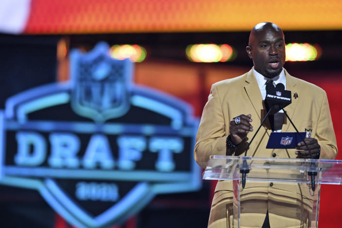 NFL Hall of Famer Will Shields announces Nick Bolton, linebacker from Missouri, as a selection by the Kansas City Chiefs during the second round of the NFL football draft Friday, April 30, 2021, in Cleveland. (AP Photo/David Dermer)