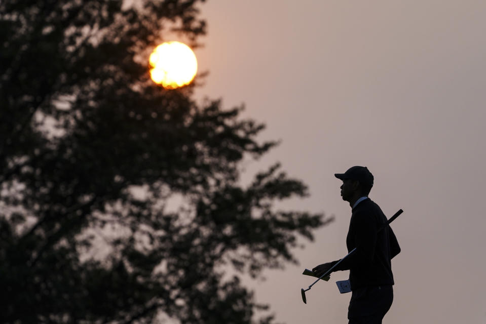 Tiger Woods walks the second green during practice before the U.S. Open Championship golf tournament at Winged Foot Golf Club, Wednesday, Sept. 16, 2020, in Mamaroneck, N.Y. (AP Photo/John Minchillo)