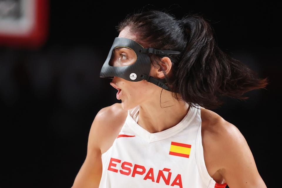 SAITAMA, JAPAN - JULY 29: Team Spain point guard Cristina Ouvina #5 calls out to her teammates during the first half of their Women's Preliminary Round Group A game against Serbia on day six of the Tokyo 2020 Olympic Games at Saitama Super Arena on July 29, 2021 in Saitama, Japan. (Photo by Gregory Shamus/Getty Images)