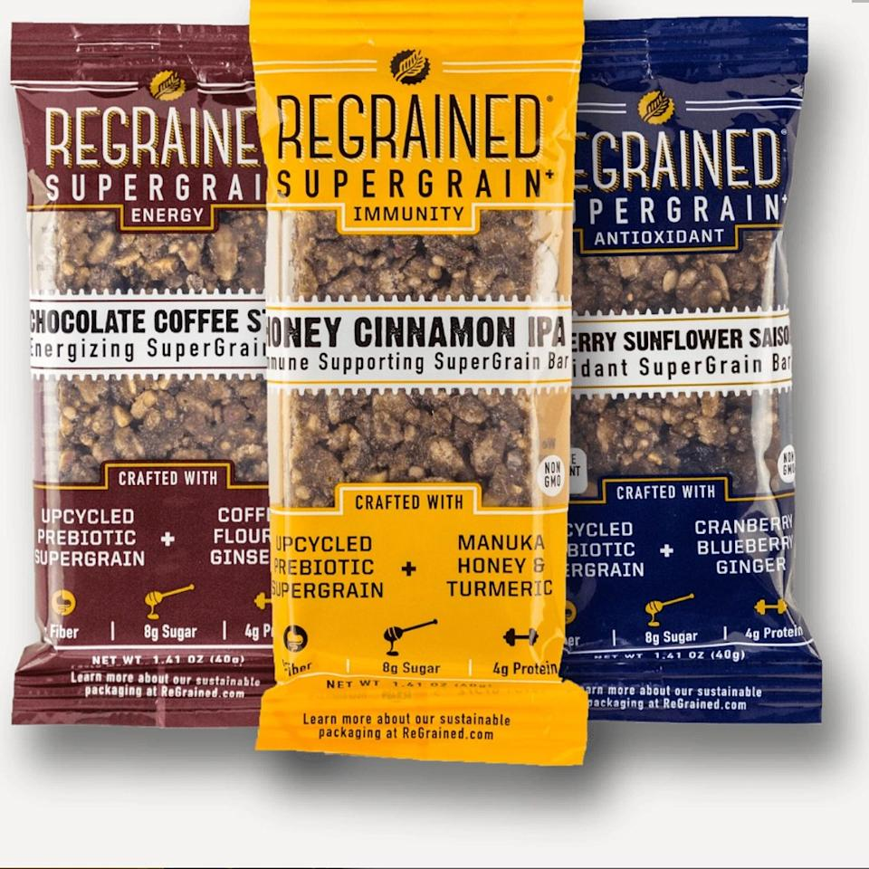 "<p><a href=""https://www.regrained.com/"">ReGrained</a> rescues the nutritious spent grain that's left over from brewing beer. It's packed with protein, nutrients, and fiber, including prebiotic fiber. ReGrained upcycles it into a hearty flour called <a href=""https://www.regrained.com/pages/supergrain"">SuperGrain+</a>, which they then use to make snack bars.</p> <p><strong>Buy it:</strong> $14, <a href=""https://www.amazon.com/ReGrained-Assortment-Pack-Chocolate-Blueberry/dp/B07FSZ1YSM/ref=sr_1_1?m=A21JQGOHY9RNFO&marketplaceID=ATVPDKIKX0DER&qid=1564586962&s=merchant-items&sr=1-1"" rel=""nofollow"">amazon.com</a></p>"