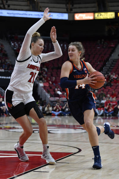 Virginia forward Lisa Jablonowski (14) drives on Louisville forward Kylee Shook (21) during the first half of an NCAA college basketball game in Louisville, Ky., Thursday, Jan. 23, 2020. (AP Photo/Timothy D. Easley)